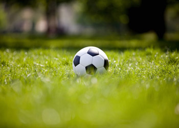 Soccer Ball lying in grass on a big green field