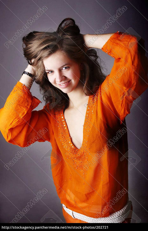 in, orange, tunic - 202721