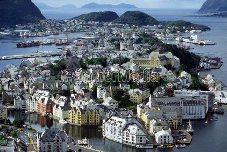 city town norway aerial view scandinavia