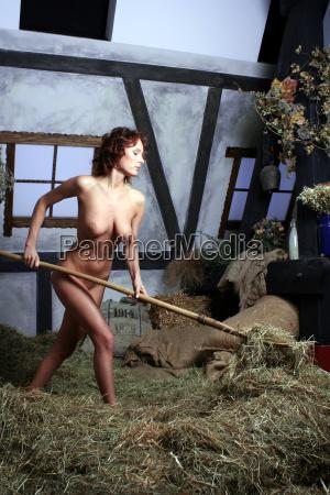 shoveling straw