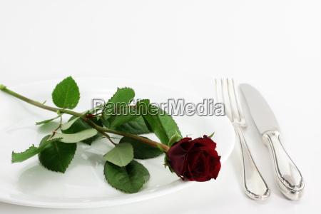eine rose und eine gabel auf