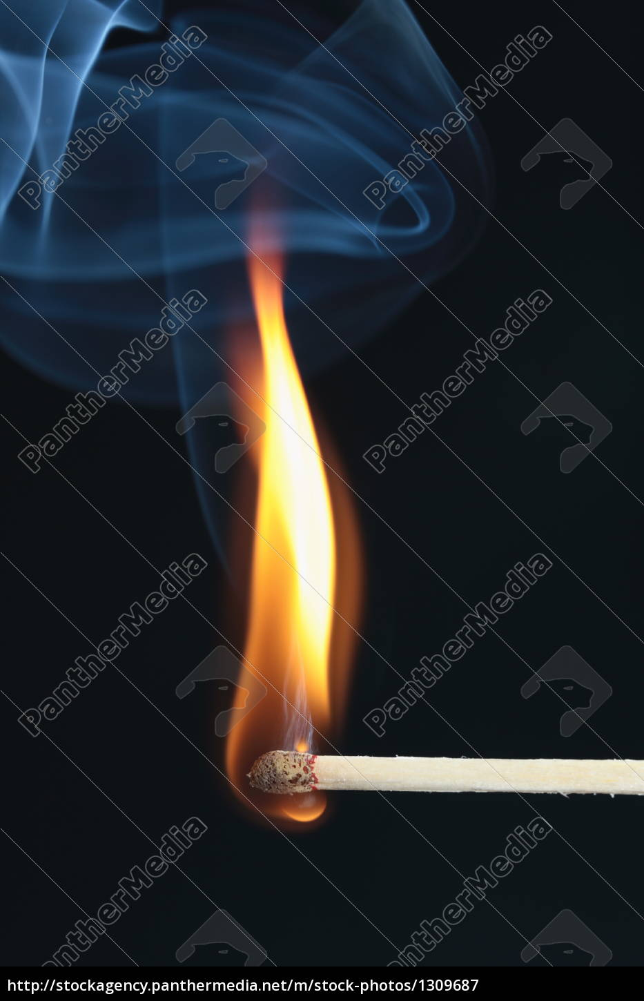 inflamed, match, with, blue, smoke, on - 1309687