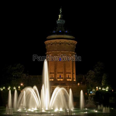 fountain water tower emblem mannheim