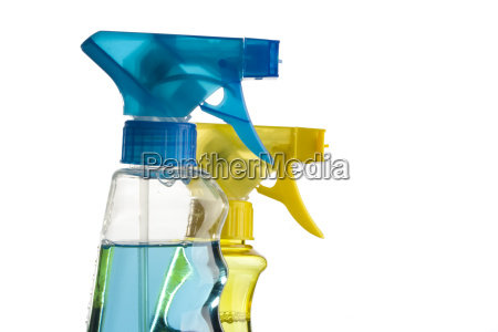 blaue und gelbe spruehflasche
