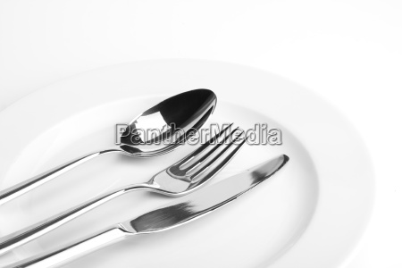 fork, knife, spoon, and, a, white, plate - 1438807