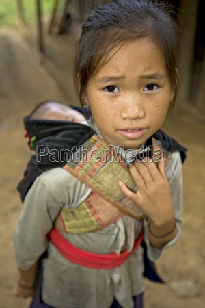 hmong girl with brotherlaos