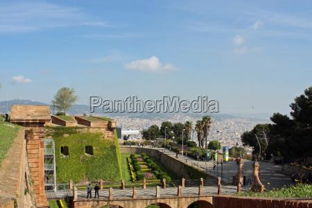 espanha olhar vista montanha barcelona castelo
