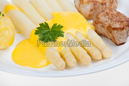 white, asparagus, and, hollandaise, sauce - 2012841