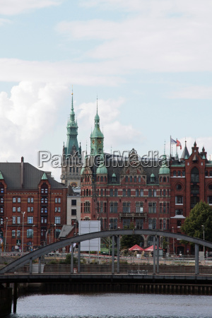 bridge channel hamburg town hall elbe