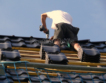 work on the roof ridge