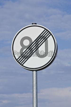 geschwindigkeitsbegrenzungsaufhebungsverkehrszeichen