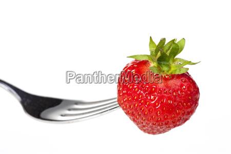 erdbeere auf einer gabel isoliert