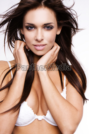 woman brown brownish brunette bra photo