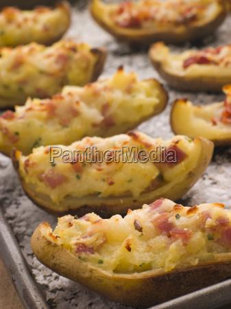 stuffed potato skins a tray with