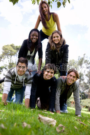 human pyramid outdoors
