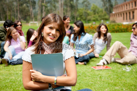 female student with a group