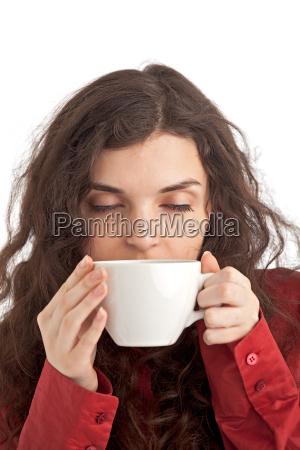 maedchen mit einer tasse kaffee