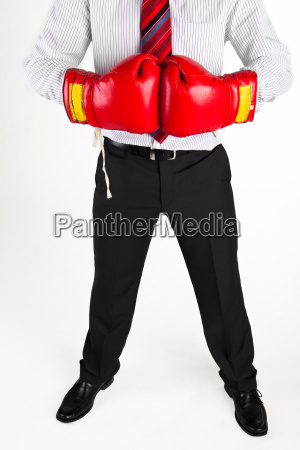 businessman boxing gloves