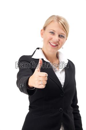 businessfrau zeigt daumen nach oben
