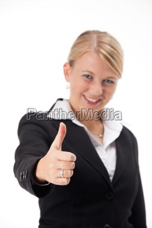 businessfrau mit daumen nach oben