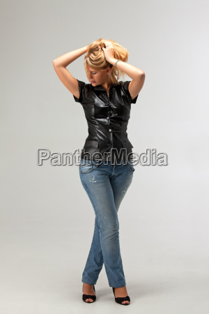 woman leather jeans trousers jean trousers