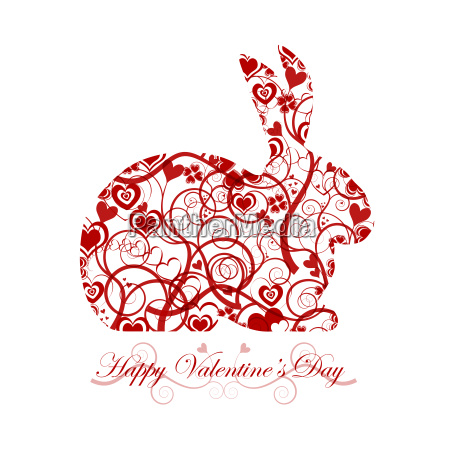 happy valentines day red bunny rabbit