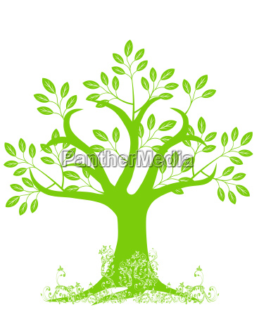 abstract tree silhouette with leaves and
