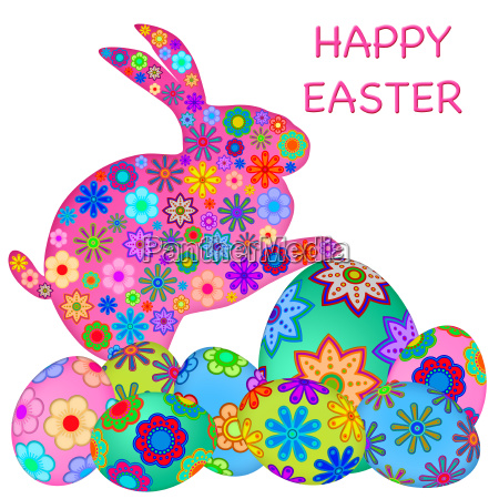 happy easter bunny rabbit with colorful