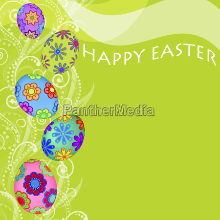 happy easter eggs with swirls and