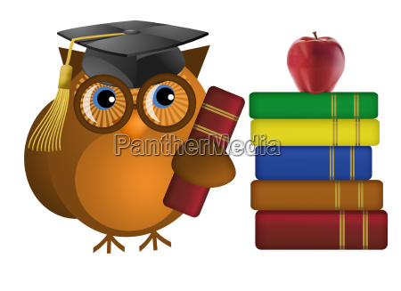 wise old owl with books