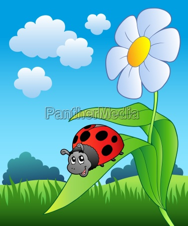 cute ladybug with flower