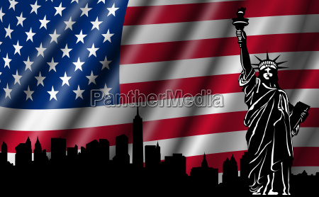 usa american flag with statue of