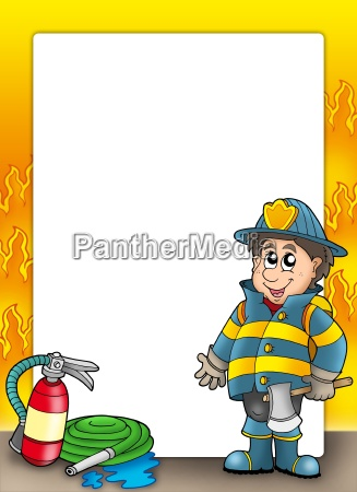 fire protection frame with fireman