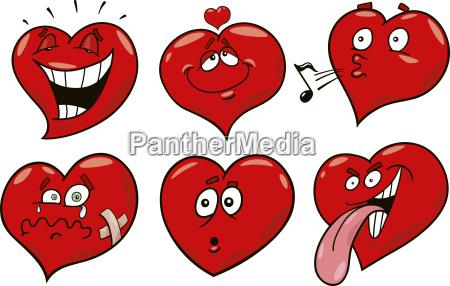 cartoon hearts set