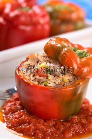baked stuffed red bell pepper