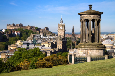 edinburgh city and castle viewed from