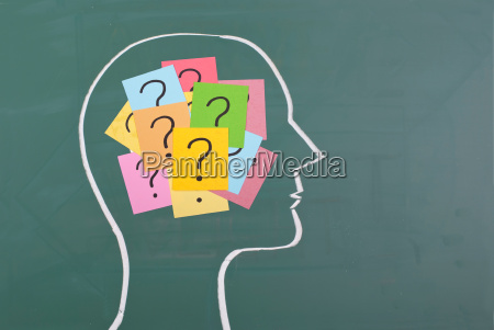human brain and colorful question mark