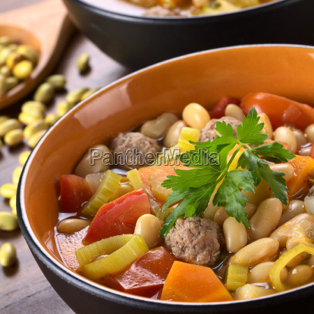 bean soup with meatballs and other