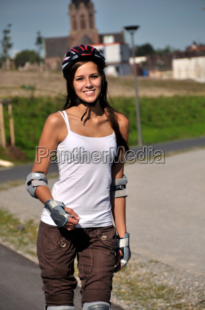 sport makes young woman happy