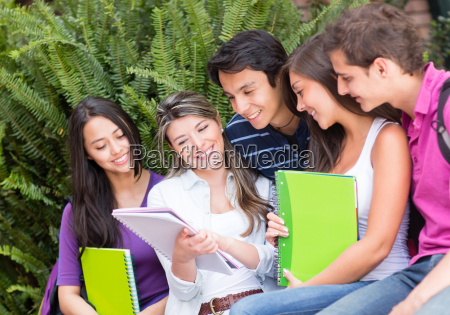 group of friends studying