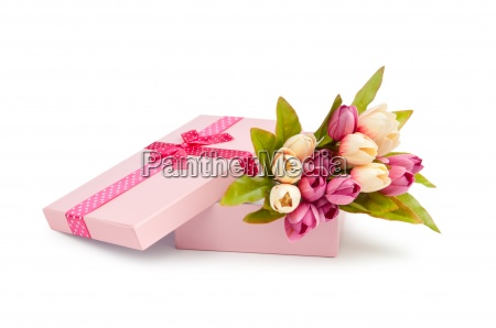 giftbox and tulips isolated on white