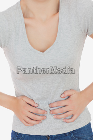 woman suffering from stomach