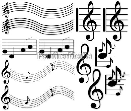 notas musicais e sinais ilustracoes