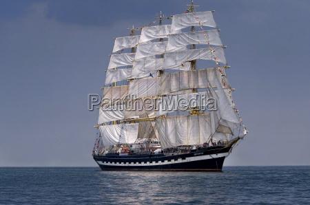 sailboat historic tall ship at sea