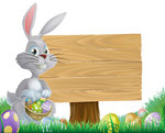 chocolate eggs and easter bunny sign