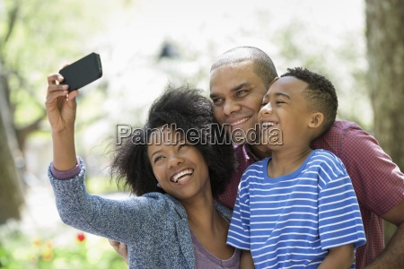 a family in the park on