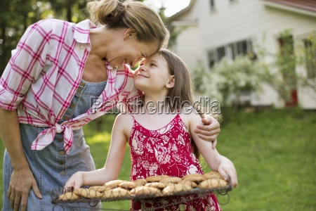 baking homemade cookies a young girl