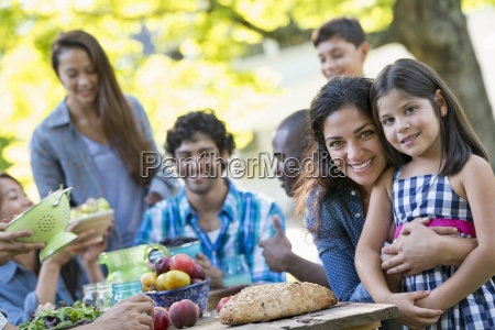a summer party outdoors adults and