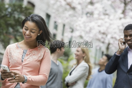 city life in spring young people