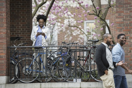 outdoors in the city in spring